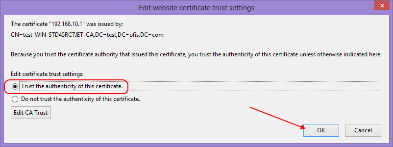 Trust the authenticity of this certificate