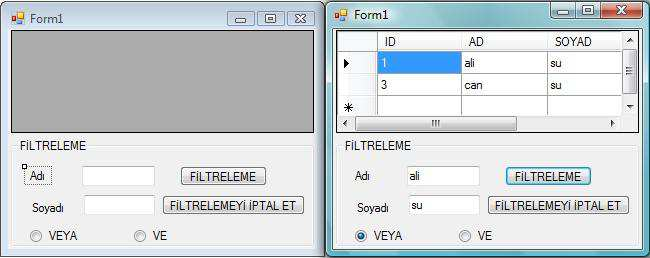 KAYIT FİLTRELE BUTONU Private Sub Button1_Click(ByVal sender As System.Object, ByVal e As System.EventArgs) Handles Button6.Click Dim veri As String veri = TextBox2.Text dv.