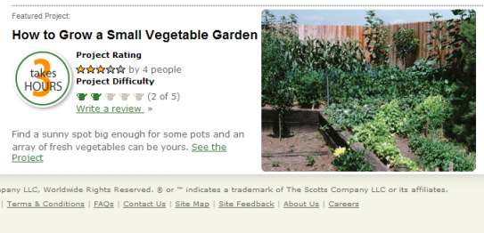 Scotts Content Targeting small vegetable garden project Example of