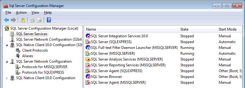 SQL Server Configuration Manager Servislerin
