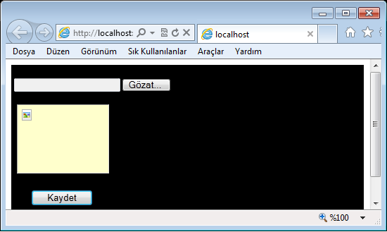 "Formumuz; Kodumuz; protected void Button1_Click(object sender, EventArgs e) if (FileUpload1.HasFile) // Dosya Seçilmişse else FileUpload1.SaveAs(Server.MapPath(""resim/"") + FileUpload1."