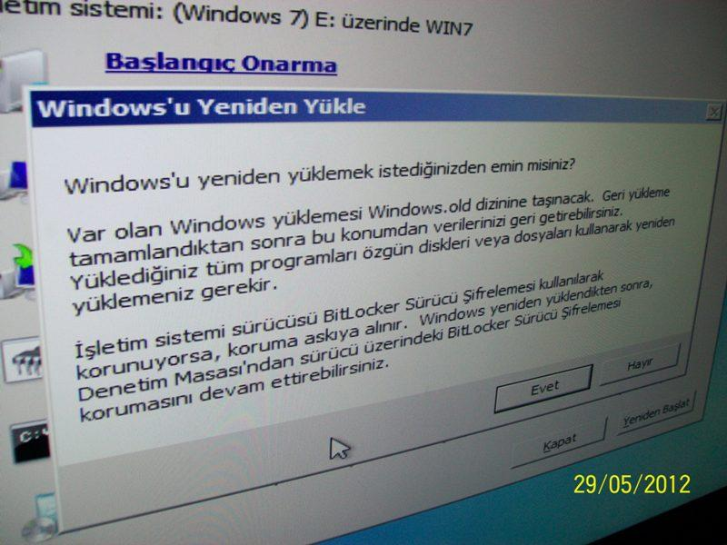 Windows u yeniden