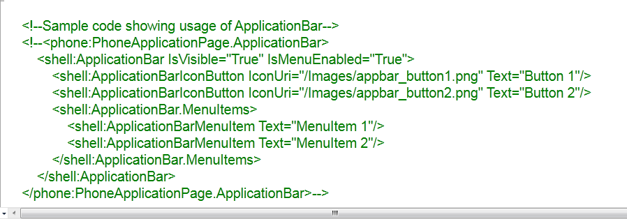 9. ApplicationBar Windows Mobile Phone 7 nin Application Bar (uygulama çubuğu) kısmına baktığımızda aslında Application Bar; 1)ApplicationBar İkonları (ApplicationBar Icons) 2)ApplicationBar menü