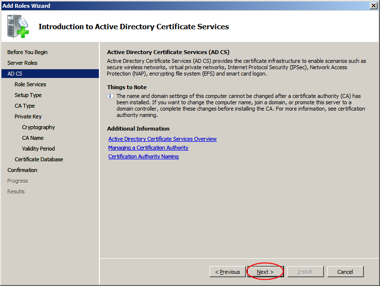 Gelen listede Active Directory Certificate Services