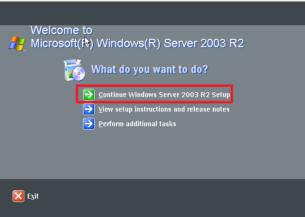 Continue Windows Server 2003 R2
