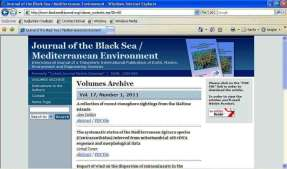 2012 Journal of the Black Sea/ Mediterranean Environment Journal of the Black Sea/Mediterranean Environment adlı süreli bilimsel yayın 2011