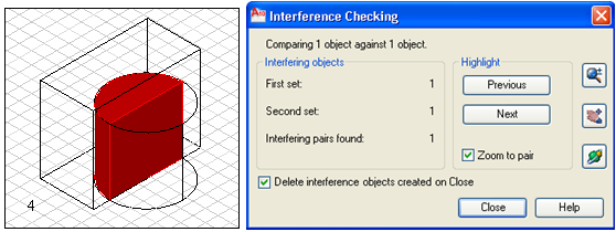 Interference checking (inf): Kesişme denetimi İnterfere Modify/3D Operations/Interference Checking Ribbon/Home/Solid Editing/Interfere Yukarıda görmüş olduğumuz Intersect komutunda arakesit almayı