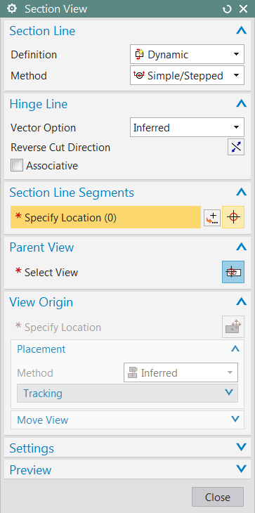 Section View Definition bölümüde Select Existing ve Dynamic şeçenekleri tanımlanmış.select Existing seçeneği Section Line ile oluşturduğumuz kesit çizgilerinden kesit alma işlemi için kullanılır.