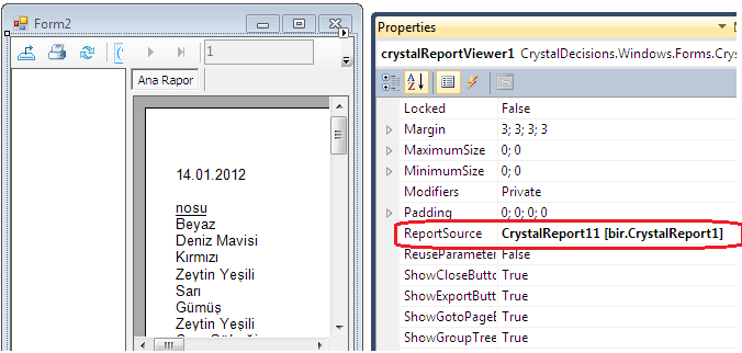 Form2 üzerinde crystal report secilerek özelliklerden report source a crystalreport1