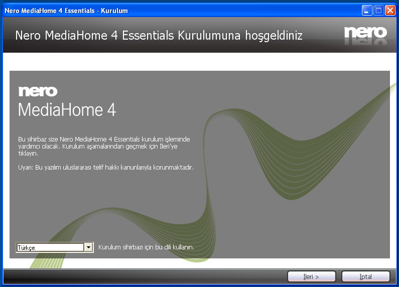 Ek E: Nero Media Home Kurulumu Bu yazılım Windows XP ve Windows 7 ile uyumludur.