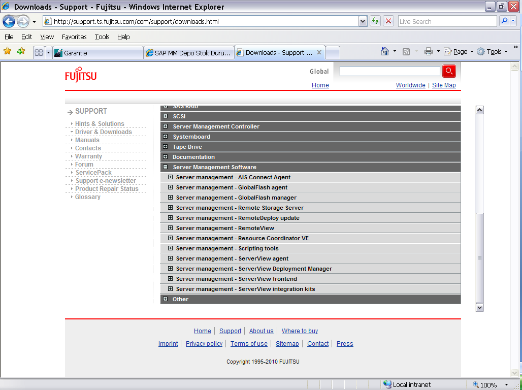 SERVER VİEW AGENT YAZILIMINI YUKLEMEK Resim 1 Resim 1 de http://support.ts.fujitsu.com/com/support/downloads.html linkine girilerek daha önce Bios yüklemesinde yaptığımız gibi bu sayfaya geliriz.