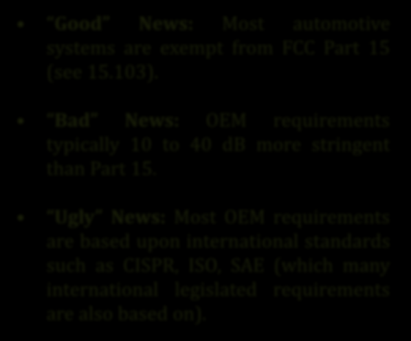 Automotive EMC Requirements Good News: Most automotive systems are exempt from FCC Part 15 (see 15.103).