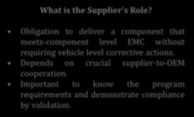 What is the Supplier s Role?