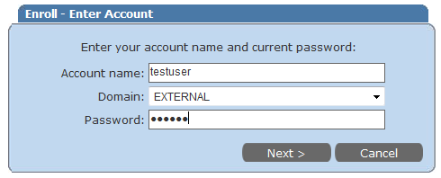 2/11 A.2. Enter your user name and select Domain as EXTERNAL and