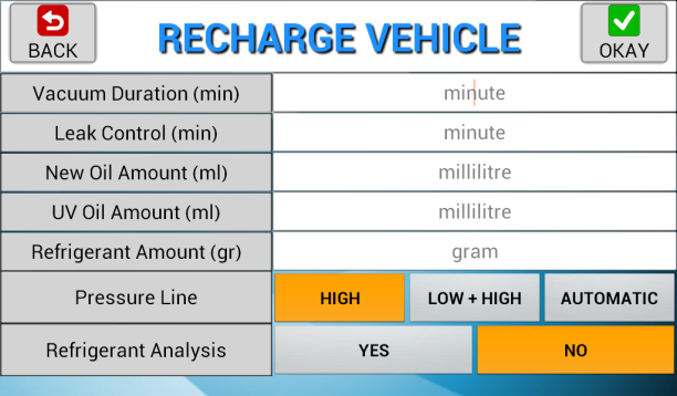 Charge Refrigerant Charge vehicle A/C system with refrigerant. 1. Connect service hoses to the vehicle and open adapters. 2.