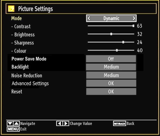 Configuring Picture Settings You can use different picture settings in detail. Press M button and select the Picture icon by using or button. Press OK button to view Picture Settings menu.