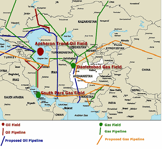 Map 4. Oil and Gas Pipelines of Central Asia and Caucasus Region II International Congress Sources: Pipeline Politics: oil, the Taliban, and the Political Balance of Central Asia. http://worldpress.