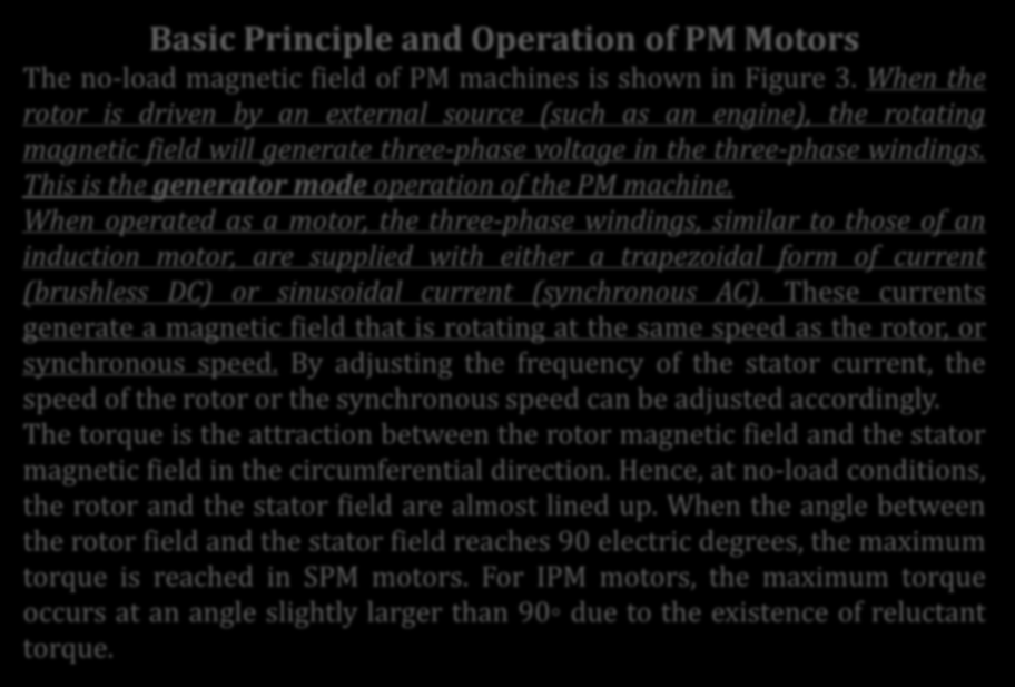 OKUMA PARÇASI: PERMANENT MAGNET MOTOR DRIVES Basic Principle and Operation of PM Motors The no-load magnetic field of PM machines is shown in Figure 3.