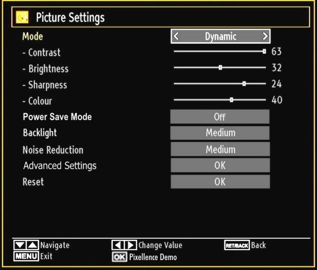 Use or button to set an item. Press MENU button to exit. Pixellence Demo Mode : While Mode option is highlighted in picture menu, Pixellence demo mode will be displayed bottom of the menu screen.