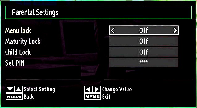 Parental Settings Menu Operation Select an item by using or button. Use or button to set an item. Press OK button to view more options.