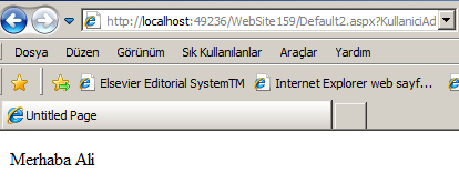 Link http://localhost:49236/website159/default2.aspx?kullaniciadi=ali&uyedurumu=dogru using System; using System.Collections; using System.Configuration; using System.Data; using System.