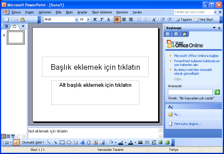 POWER POINT SUNU PROGRAMI Power Point bir Sunu (Slayt) programıdır. MS-Office uygulamasıdır ve Office CD sinden yüklenir.