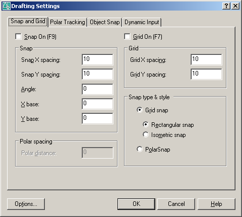 33 DRAFTING SETTINGS Tools menüsünden Drafting Settings komutunu verdiğimizde yandaki diyalog kutusu karşımıza gelir. Kısayolu ds + enter dır.