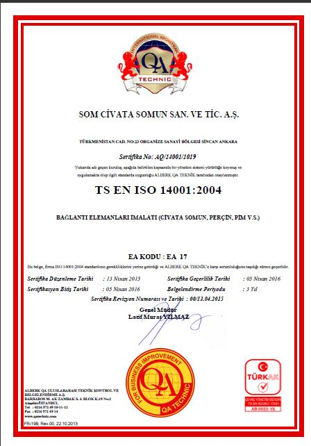 Kalite Yönetimi Certifications ISO/TS 16949: 2009 FORD- Q1 Onay VW Onay ISO