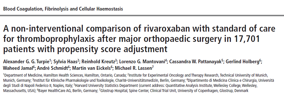Thromb Haemost 2014;111 XAMOS ( Xarelto in the prophylaxis of postsurgical VTE after elective Major Orthopaedic Surgery of