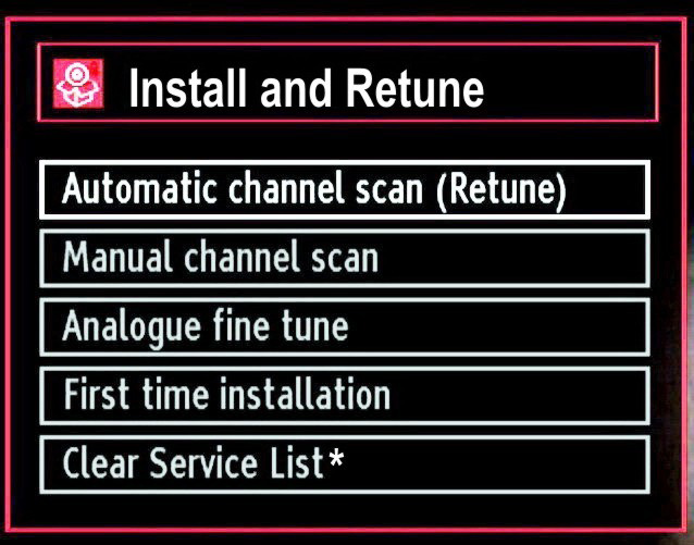 Installation Press MENU button on the remote control and select Installation by using or button. Press OK button and the following menu screen will be displayed.