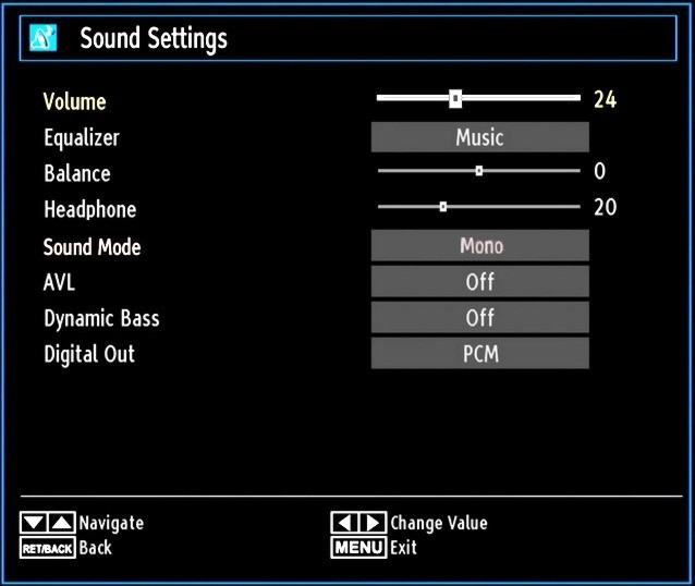 Noise Reduction: If the broadcast signal is weak and the picture is noisy, use Noise Reduction setting to reduce the noise amount.