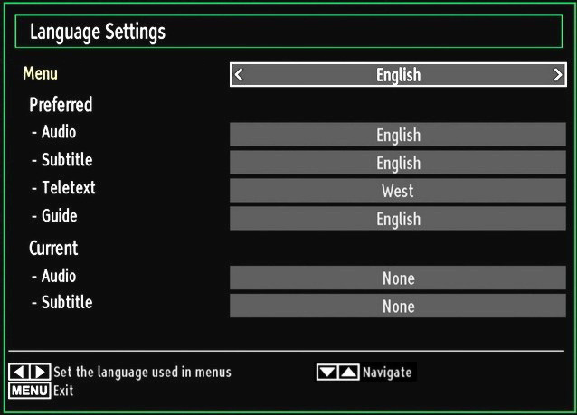 Settings menu. Use or button to highlight Language and press OK to continue: Language Settings Use or button to set an item. Settings are stored automatically. Menu: displays the system language.