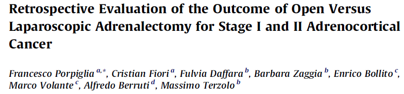 Retrospective Evaluation of the Outcome of Open Versus Laparoscopic Adrenalectomy for Stage I and II Adrenocortical Cancer 2010 European Association of Urology 25 Açık, 18 Lap Toplam 43 olgu