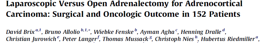 Laparoscopic Versus Open Adrenalectomy for Adrenocortical Carcinoma: Surgical and Oncologic Outcome in 152 Patients 2010 European Association of Urology (Alman) 117 Açık, 35 Lap. Toplam 152 olgu.