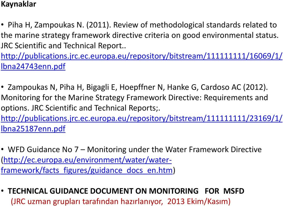 Monitoring for the Marine Strategy Framework Directive: Requirements and options. JRC Scientific and Technical Reports;. http://publications.jrc.ec.europa.