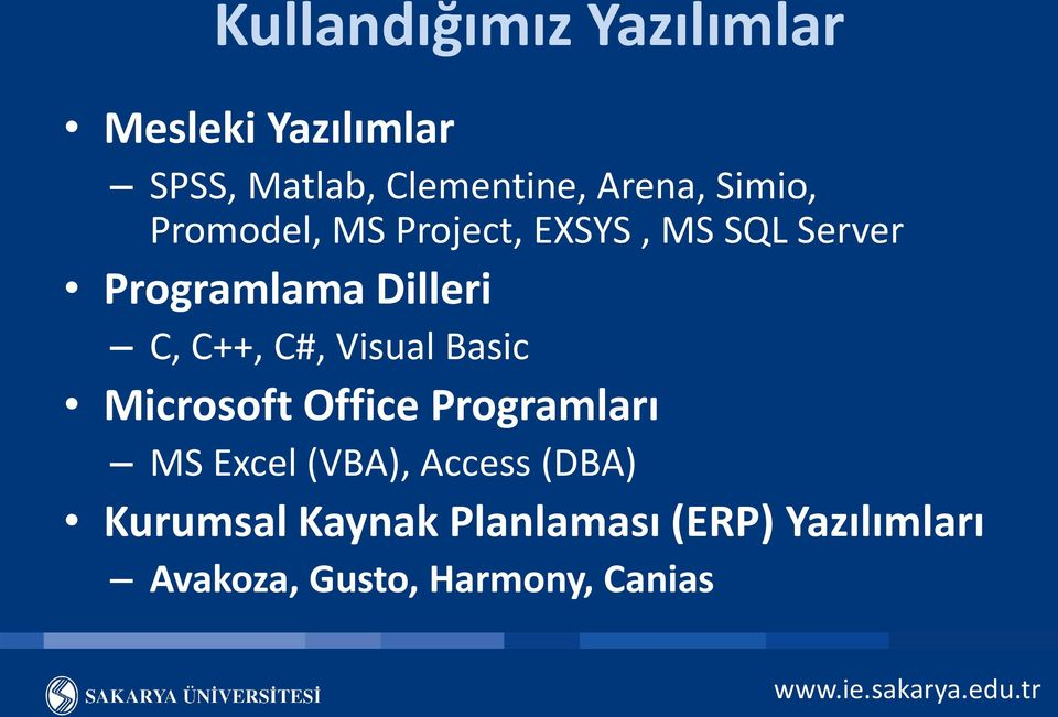 C++, C#, Visual Basic Microsoft Office Programları MS Excel (VBA), Access