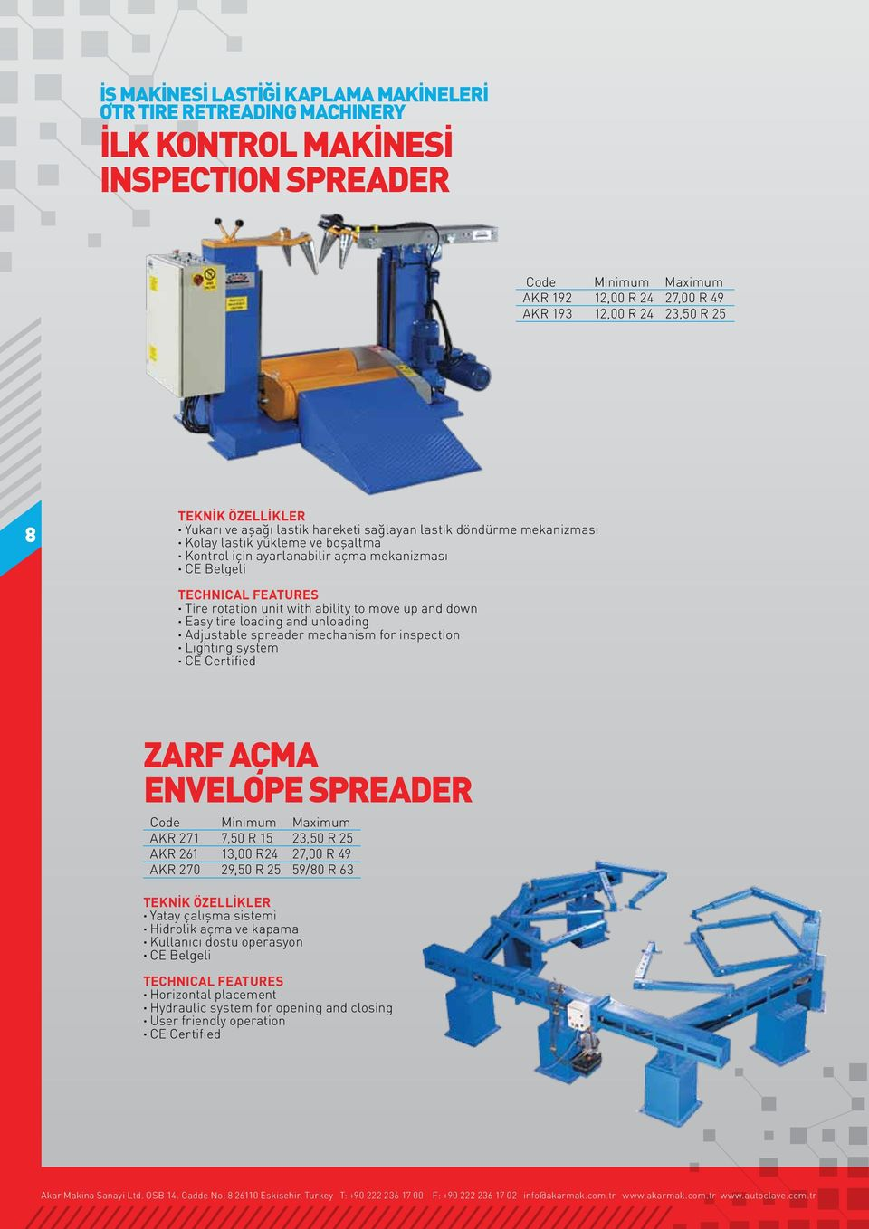 down Easy tire loading and unloading Adjustable spreader mechanism for inspection Lighting system ZARF AÇMA ENVELOPE SPREADER Code Minimum Maximum AKR 271 7,50 R 15 23,50 R 25 AKR 261 13,00 R24 27,00