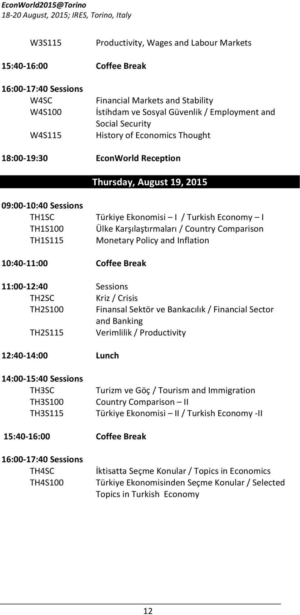 14:00-15:40 Sessions TH3SC TH3S100 TH3S115 15:40-16:00 16:00-17:40 Sessions TH4SC TH4S100 Türkiye Ekonomisi I / Turkish Economy I Ülke Karşılaştırmaları / Country Comparison Monetary Policy and