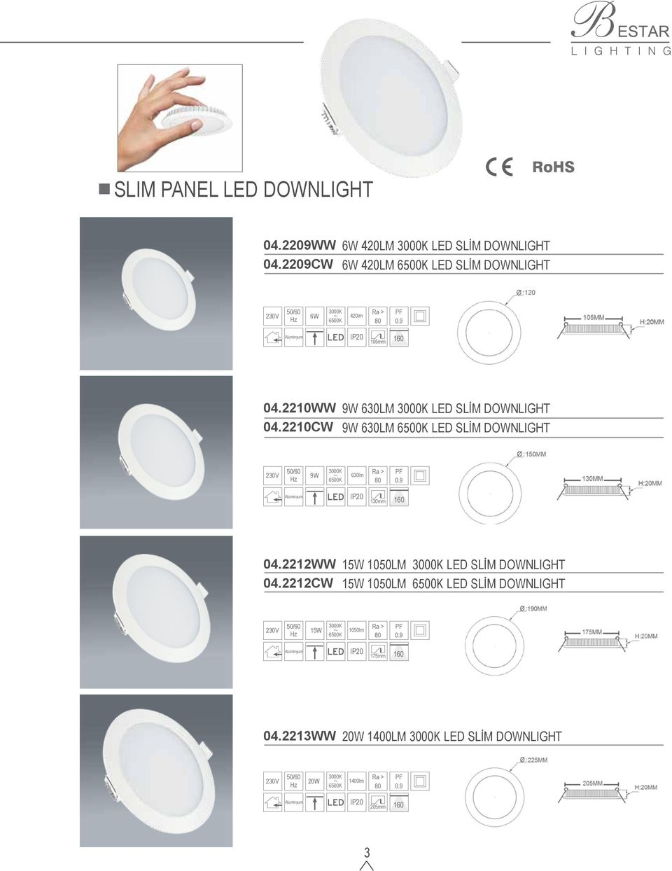 2210CW 9W 630LM LED SLİM DOWNLIGHT 9W 630LM 6500K LED SLİM DOWNLIGHT 9W 6500K 630lm 130mm 160 04.