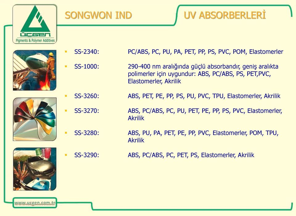 PET, PE, PP, PS, PU, PVC, TPU, Elastomerler, Akrilik SS-3270: ABS, PC/ABS, PC, PU, PET, PE, PP, PS, PVC, Elastomerler,