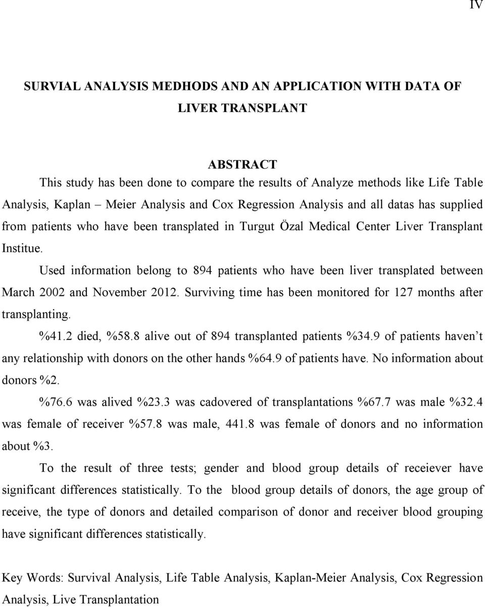 Used information belong to 894 patients who have been liver transplated between March 2002 and November 2012. Surviving time has been monitored for 127 months after transplanting. %41.2 died, %58.