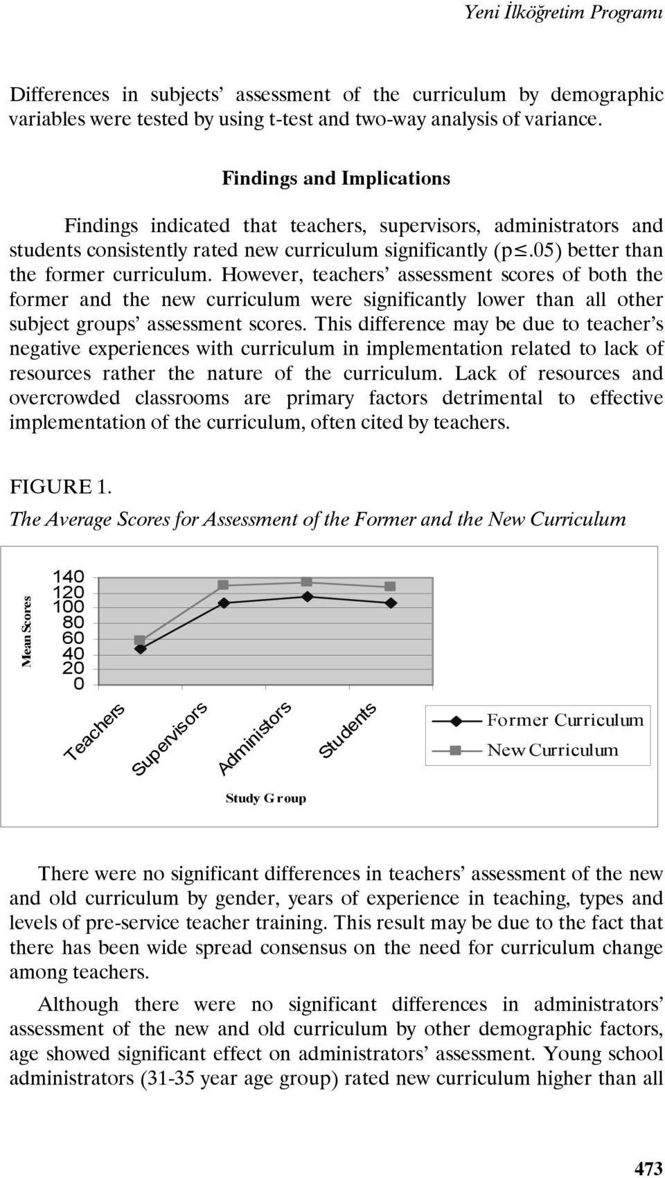 However, teachers assessment scores of both the former and the new curriculum were significantly lower than all other subject groups assessment scores.