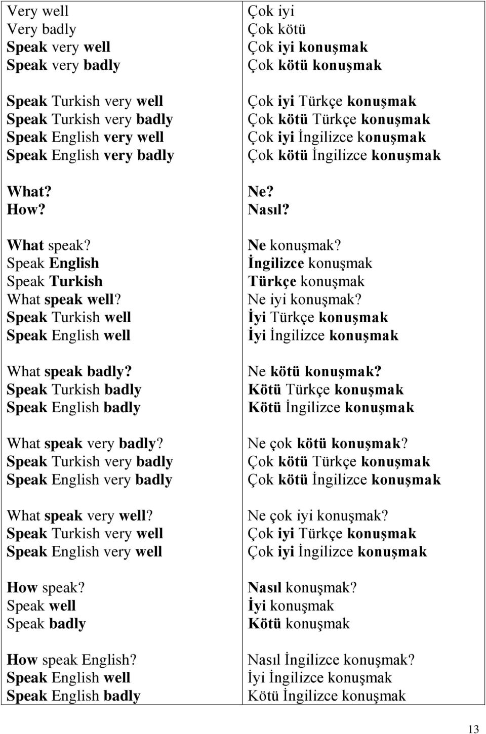 Speak Turkish very badly Speak English very badly What speak very well? Speak Turkish very well Speak English very well How speak? Speak well Speak badly How speak English?