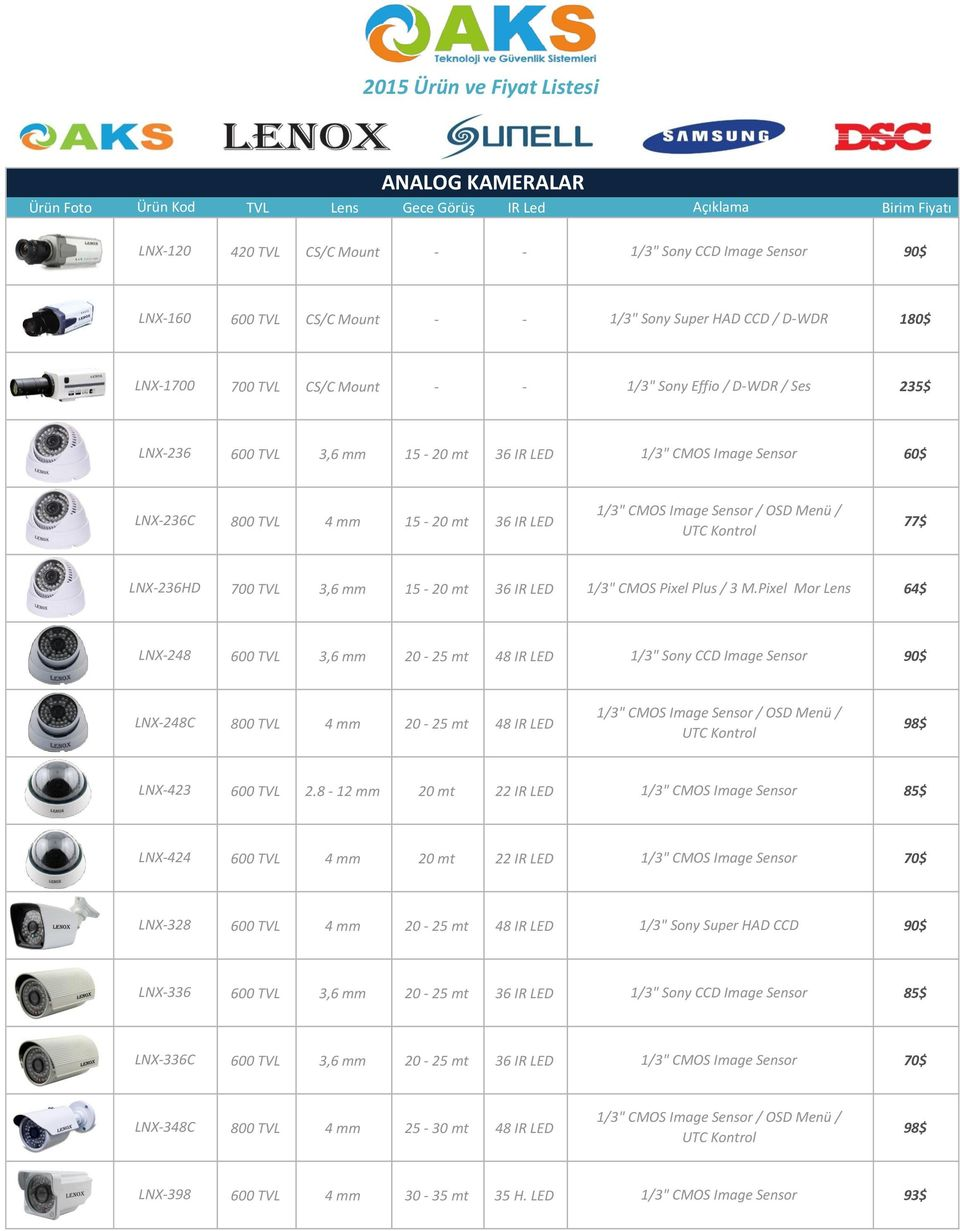 "mm 15-20 mt 36 IR 77$ LNX-236HD 700 TVL 3,6 mm 15-20 mt 36 IR 1/3"" Pixel Plus / 3 M."