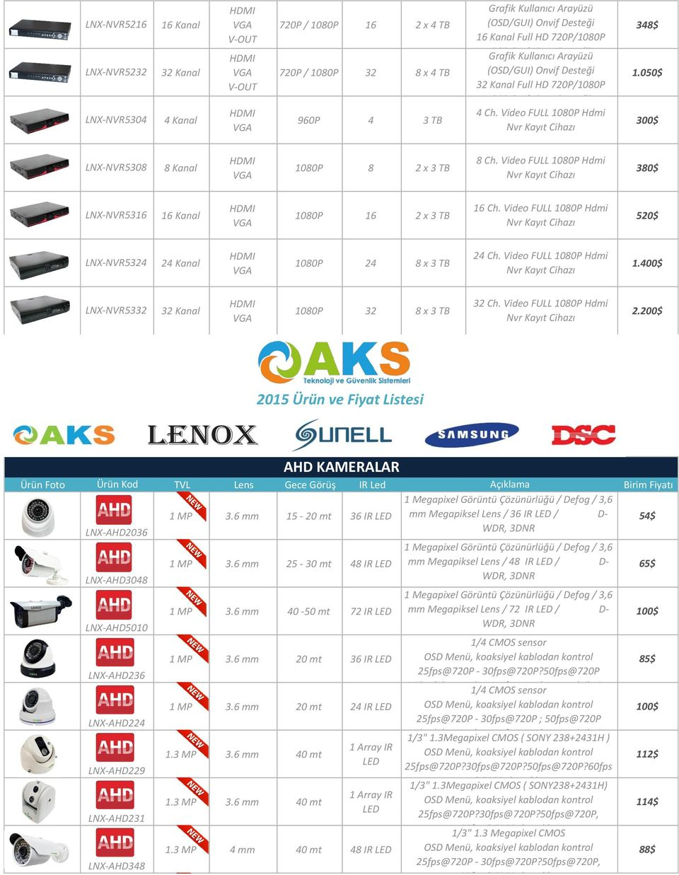 Video FULL 1080P Hdmi 1080P 8 2 x 3 TB 380$ Nvr Cihazı LNX-NVR5316 16 Ch. Video FULL 1080P Hdmi 1080P 16 2 x 3 TB 520$ Nvr Cihazı LNX-NVR5324 2 24 Ch. Video FULL 1080P Hdmi 1080P 24 8 x 3 TB 1.