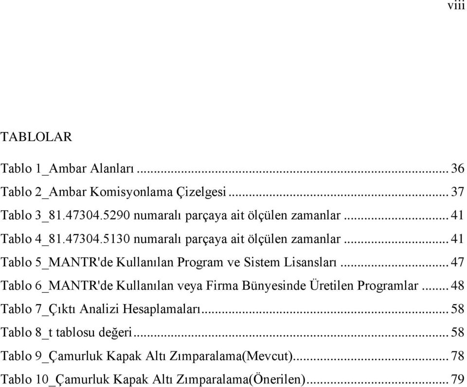 .. 41 Tablo 5_MANTR'de Kullanılan Program ve Sistem Lisansları.