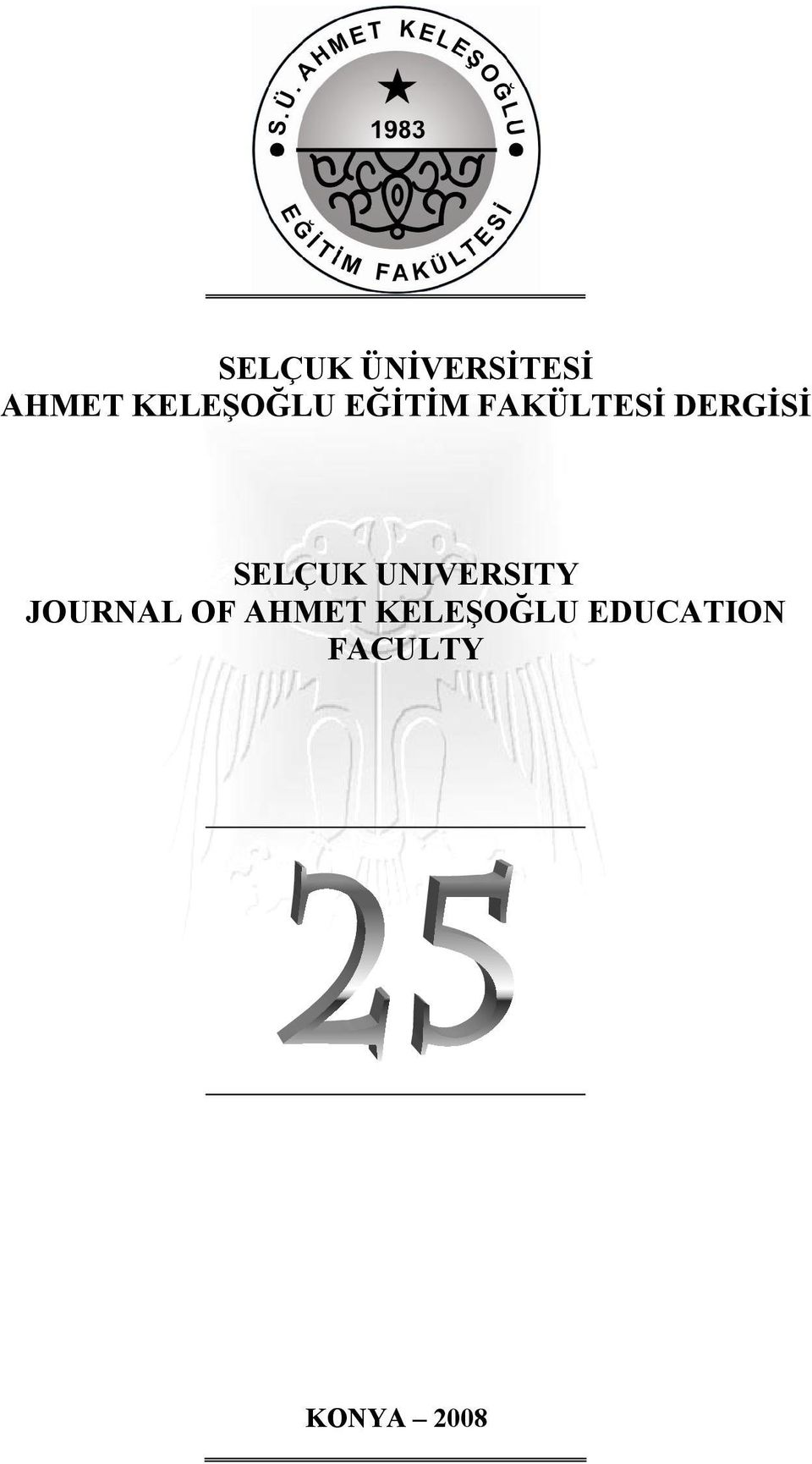 DERGİSİ SELÇUK UNIVERSITY JOURNAL